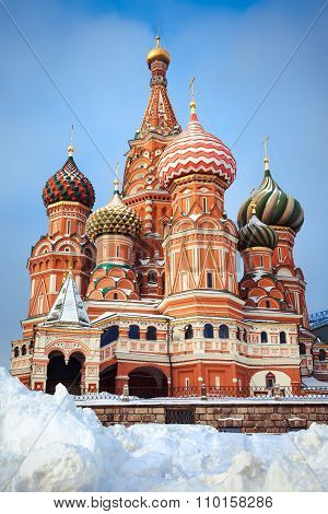 Beautiful  Moscow Attraction -  Saint Basil's Cathedral With Colorful Domes On Red Square