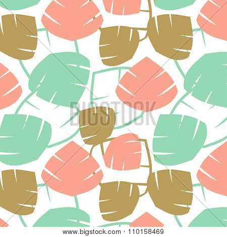 Gingko biloba seamless pattern. Abstract vector background in pink, mint and golden colors