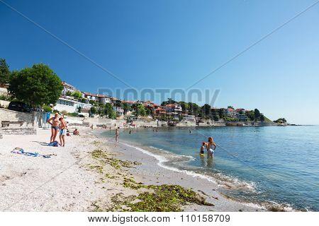 Public Beach With Relaxing People In Nesebar
