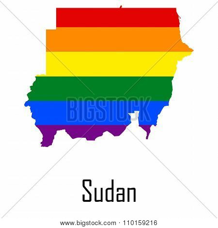 Vector Rainbow Map Of Sudan In Colors Of Lgbt - Lesbian, Gay, Bisexual, And Transgender - Pride Flag