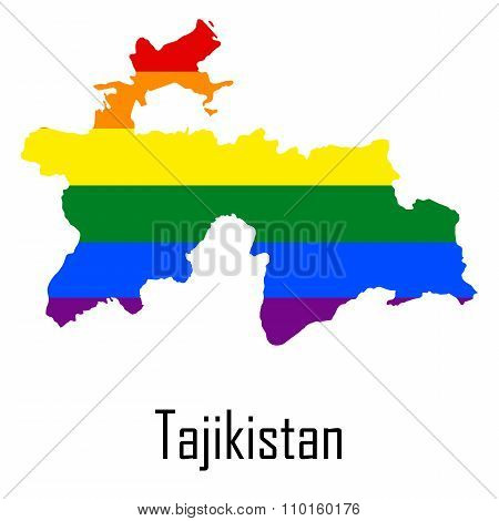 Vector Rainbow Map Of Tajikistan In Colors Of Lgbt - Lesbian, Gay, Bisexual, And Transgender - Pride