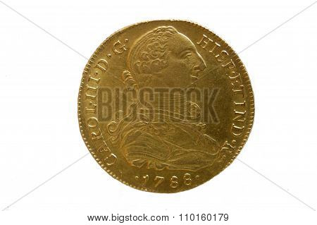An ancient Spanish gold coin (year 1788, eight escudos)