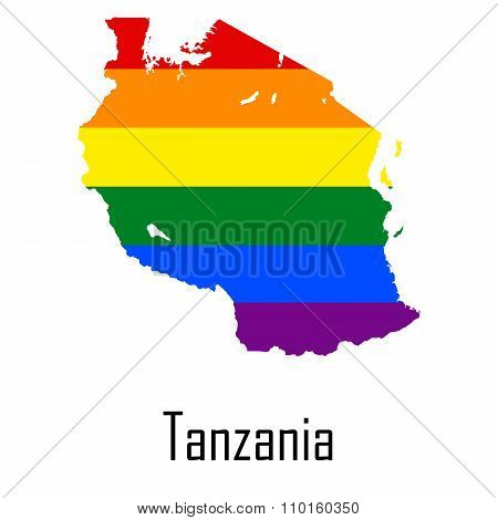 Vector Rainbow Map Of Tanzania In Colors Of Lgbt - Lesbian, Gay, Bisexual, And Transgender - Pride F