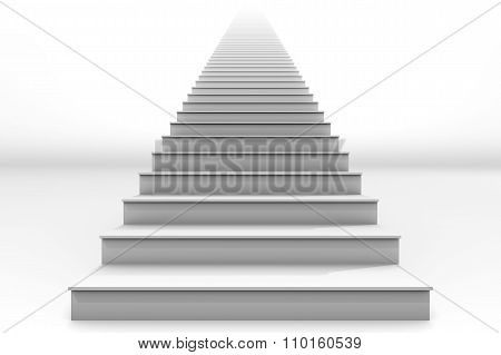 Tall White Straight Staircase On White Background