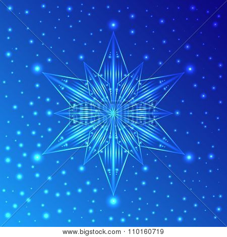 Luminous Snowflake On Blue Background With Sparkles