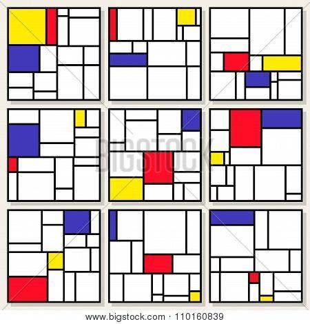 Set Of Nine Vector Square Compositions in Piet Mondrian De Stijl Style