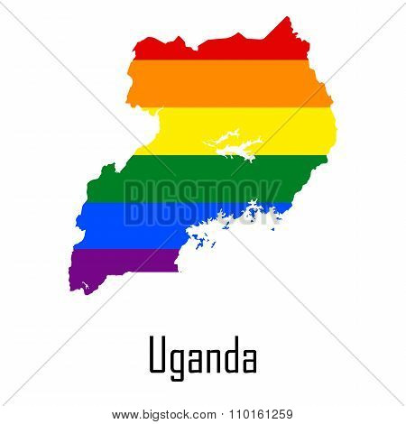 Vector Rainbow Map Of Uganda In Colors Of Lgbt - Lesbian, Gay, Bisexual, And Transgender - Pride Fla