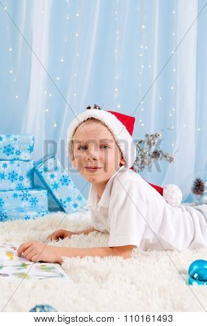 Sweet Boy, Reading A Book On Christmas, Decoration Around Him