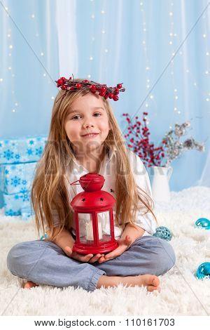 Cute Little Girl, Preschool Child, Holding Lantern On Christmas