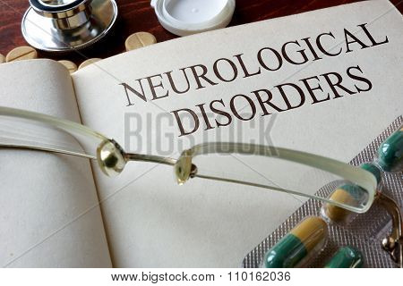 Book with diagnosis neurological disorders. Medical concept. poster
