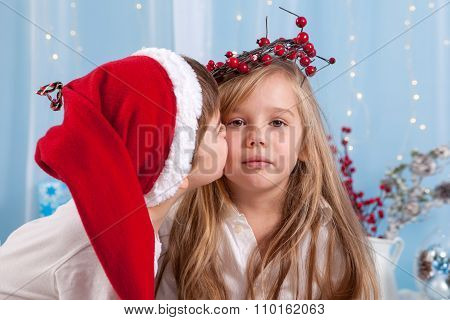 Little Brother, Giving A Kiss To His Sister, Christmas Concept