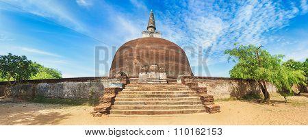 Rankoth Vehera in the world heritage city Polonnaruwa, Sri Lanka. Panorama poster