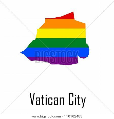 Vector Rainbow Map Of Vatican City In Colors Of Lgbt - Lesbian, Gay, Bisexual, And Transgender - Pri