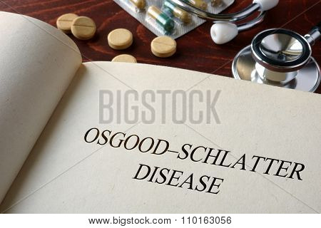 Book with diagnosis Osgood-Schlatter disease.