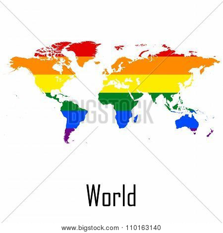Vector Rainbow Map Of World In Colors Of Lgbt - Lesbian, Gay, Bisexual, And Transgender - Pride Flag