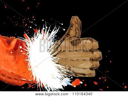 Watercolor Santa Claus. Santa Claus background. Santa Claus hand. hand gesture. Ok gesture.