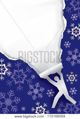 Man Ripping Christmas Paper Background