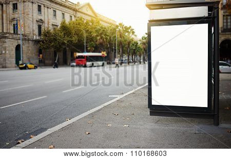 Empty poster on the street at day