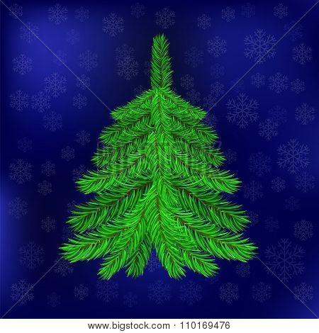 Green Fir on Blue Snowflakes Background