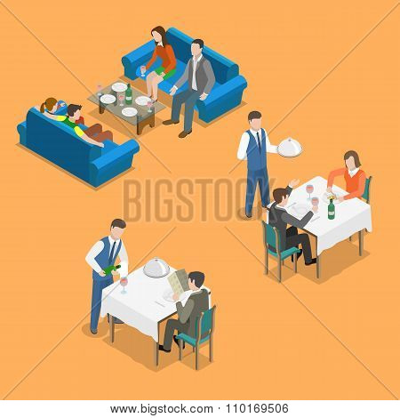 Restaurant service isometric flat vector concept.