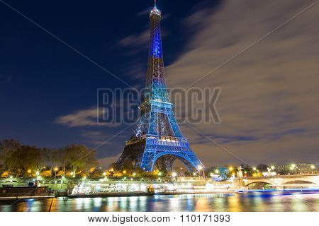 The Eiffel Tower Lit Up In Honor Of Climate Talks In Paris, France.