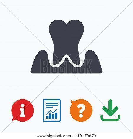 Parodontosis tooth sign icon. Dental care symbol
