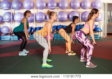 women doing an exercises in aerobics class