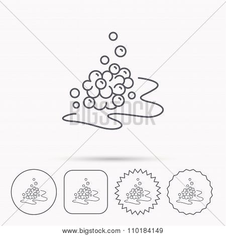 Bubbles icon. Foam for bathing sign. Washing or shampoo symbol. Linear circle, square and star buttons with icons. poster