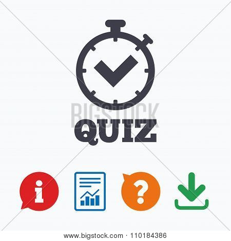 Quiz timer sign icon. Questions and answers game symbol. Information think bubble, question mark, download and report. poster