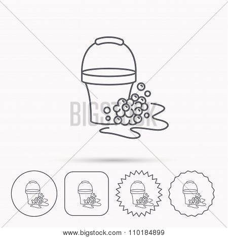 Soapy cleaning icon. Bucket with foam and bubble