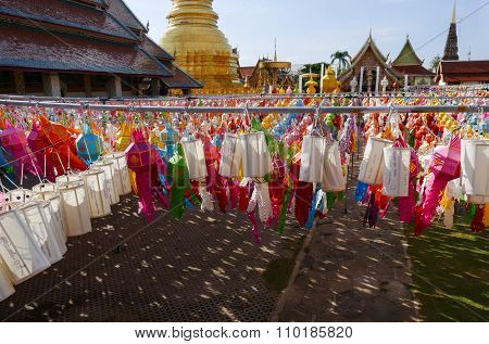 Colorful Paper Lantern Decoration For Yeepeng Festival And Golden Pagoda
