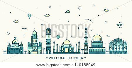 Indian skyline vector illustration linear style