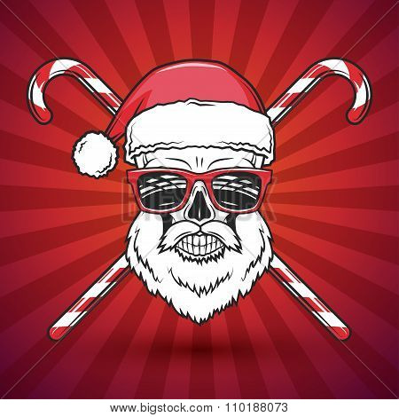 Bad Santa Claus biker with candy cones print design. Vintage Heavy metal Christmas portrait. Rock an