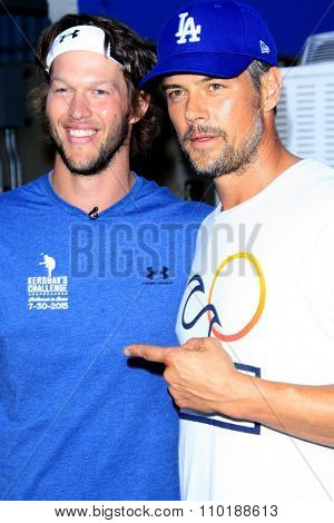 LOS ANGELES - JUL 30:  Clayton Kershaw, Josh Duhamel at the Clayton Kershaw's 3rd Annual Ping Pong 4 Purpose at the Dodger Stadium on July 30, 2015in Los Angeles, CA