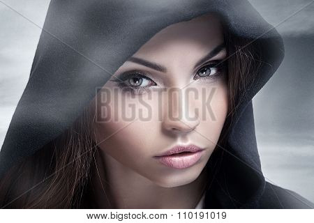 Closeup Beauty Portrait Of Brunette Woman.