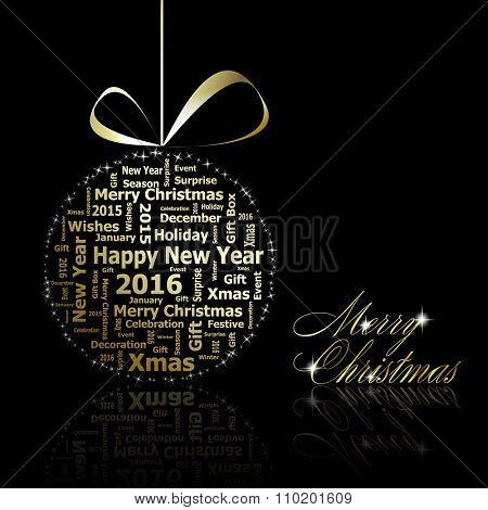 Golden Christmas ball made of gold letters with stars on black background. Vector eps10 illustration