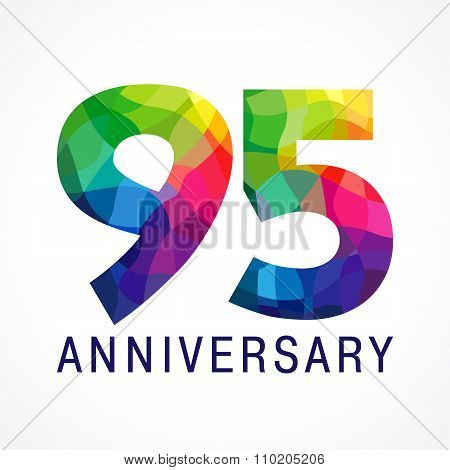 95 years old stained-glass colored logotype. Anniversary numbers 95 th. Shining celebrating congratulating greetings. Ninety five or % off stained broken glass,  isolated template as facet puzzles. poster