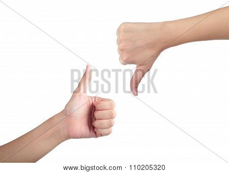 Young Man His Hand Like With Unlike Thumb Up Isolated White Background.
