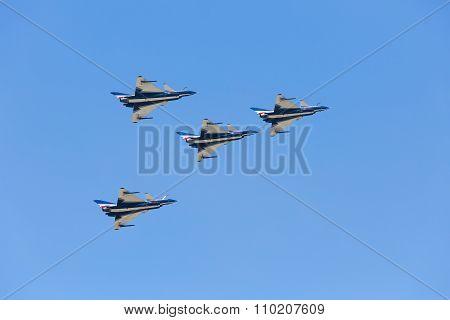 Nakhonratchasima, THAILAND November 27, 2015 : F16 Gripen and August 1st Aerobatic team