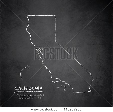 California map blackboard chalkboard vector
