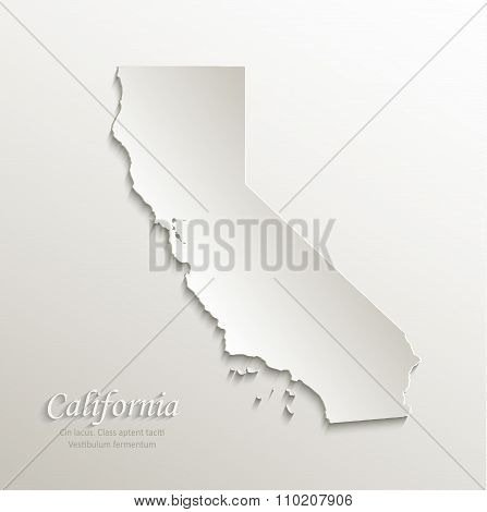 California map card paper 3D natural vector