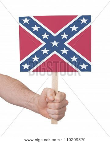Hand Holding Small Card - Flag Of The Confederacy