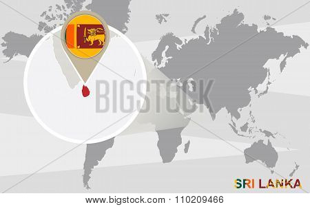World Map With Magnified Sri Lanka