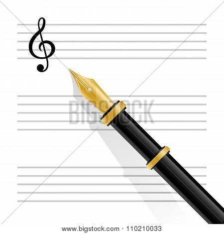 Musical staff, clef and pen