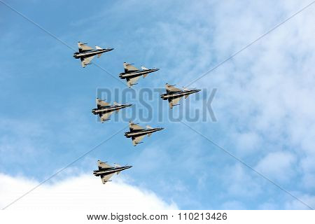 Nakhonratchasima, THAILAND November 27, 2015 : F16 Gripen and August 1st Aerobatic team