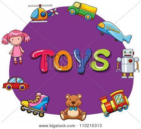 Different kind of toys illustration
