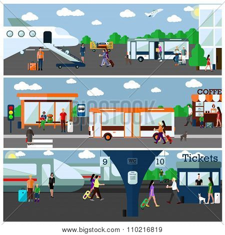 Mode of Transport concept vector illustration. Airport, bus and railway stations. City transportatio