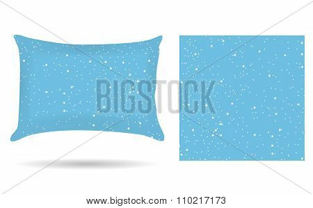 Decorative Pillowcase Pillow In The Style Of Abstract Winter Blue Background. Isolated On White. Int