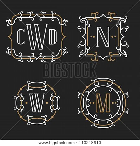 The set of elegant vintage monogram emblem templates.