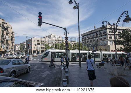Jerusalem Light Rail train in the street
